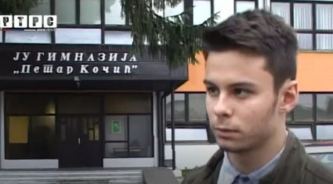 """Danilo Topic, ucenik drugog razreda JU Gimnazija """"Petar Kocic"""""""